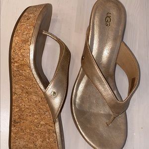Ugg gold wedge sandals